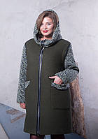 Демисезонное кашемировое пальто большого размера c капюшоном из отделочной ткани