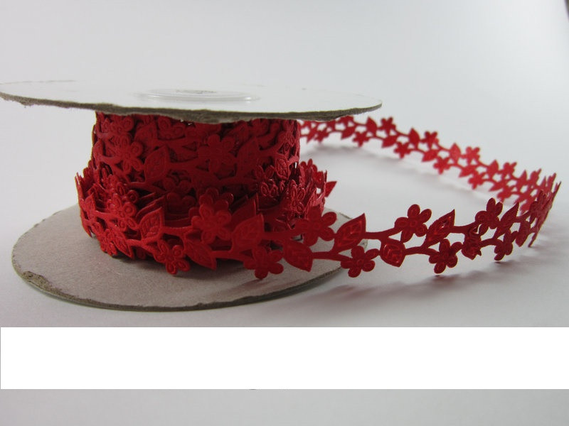 Лента ажурная шириной 20 мм (2 см), длиной 1 м (красная)