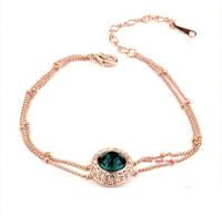 """Нежый тонкий браслет для девушки с зеленым камнем """"Дженни"""" позолота"""