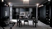 Черная глянцевая кухня в классическом стиле