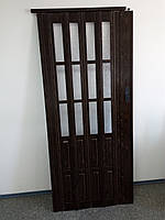 Дверь складная межкомнатная полу остекленные  орех 7103, 860х2030х12мм