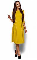 Вільне жіноче гірчичне плаття-міді Somali