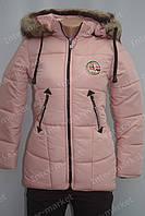 Подростковая зимняя куртка на замке с капюшоном и мехом светло розовая