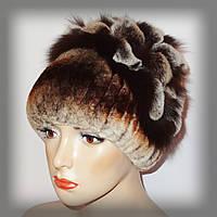 Женская меховая шапка из кролика  Rex Rabbit рыжая (водопад)