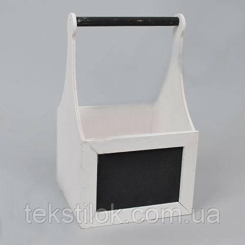 Ящик деревянный для цветов с мелованной доской и ручкой белый