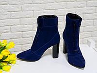 Исключительные женские Ботильоны со шнуровкой  из итальянской замши шикарной синего цвета, на высоком устойчивом каблучке, Коллекция Весна-Осень,