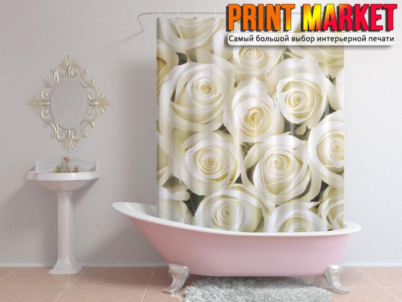 Шторы для ванной белые розы