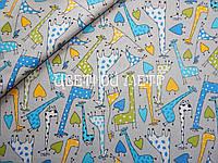 Ткань польский хлопок разноцветные жирафики