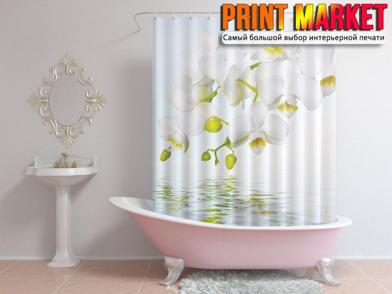 Шторы для ванной белая орхидея