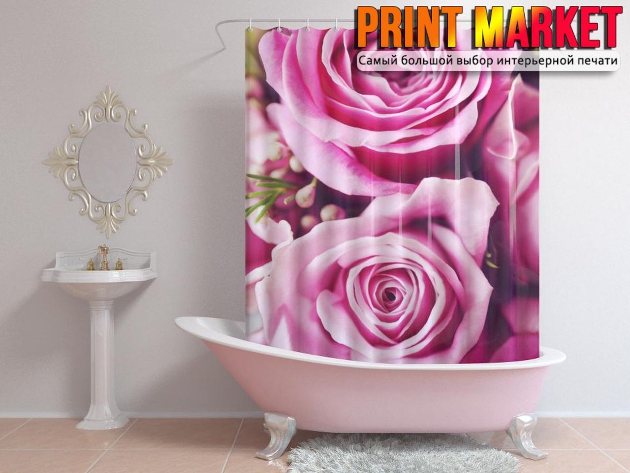 Шторы для ванной пурпурные розы