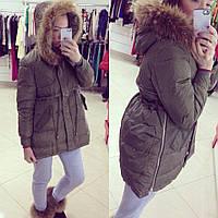 Зимняя серая курточка с натуральной опушкой