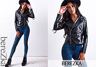 Молодежная куртка-косуха в черном цвете
