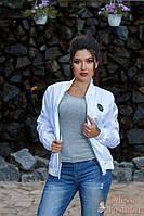 Стильная белая ветровка куртка-бомбер тренд новинка ( 48-50,52-52)