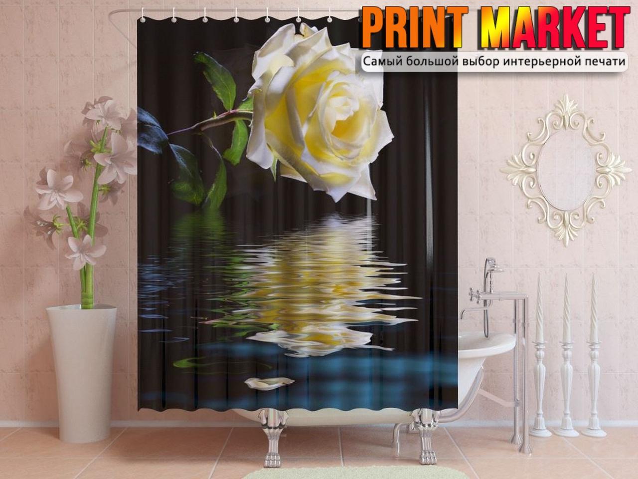 Шторы для ванной роза над водой