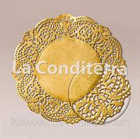 Золотые ажурные салфетки, d=21 см (50 шт.)