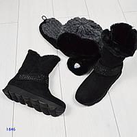 Ботинки женские с декоративным ремешком-липучкой в стразах черные