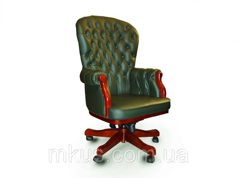 Кресло руководителя Честерфилд кожа темно-зеленая - Украинский Стандарт в Харькове