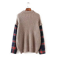 Объемный свитер с рукавами в клетку, фото 1