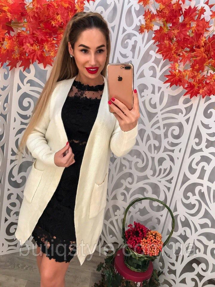 12fdc5ced503 Стильный женский кардиган с карманами машинная вязка белый, черный:  продажа, цена ...