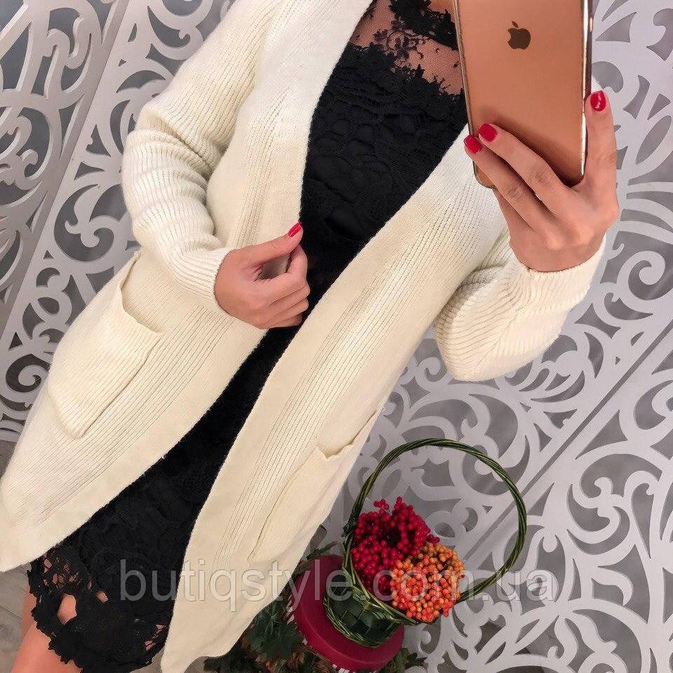 58d22f2615a3 Стильный женский кардиган с карманами машинная вязка только белый: продажа,  цена ...