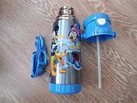 Детский термос для напитков и чая с трубочкой  zk g603  350ml Blue