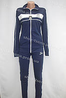 Спортивный женский костюм Adidas трикотаж темно синий