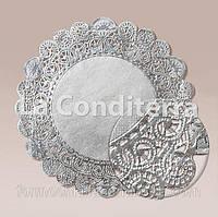 Серебристые круглые ажурные салфетки, d=41 см (50 шт.)