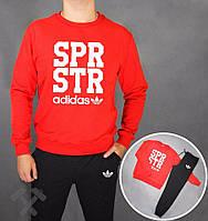 Спортивный костюм Adidas spr str, красный верх, черный низ, к3696
