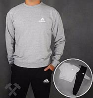 Спортивный костюм адидас, серый верх черный низ, маленькое лого, к3709