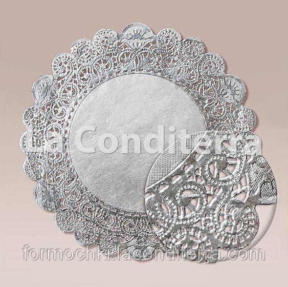 Серебристые ажурные салфетки, d=41 см (250 шт.)