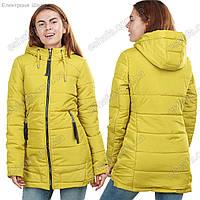 Молодежная демисезонная куртка с капюшоном Манго зеленая 44-52рр