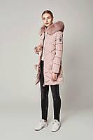 Женский зимний  пуховик с опушкой модно стёганый