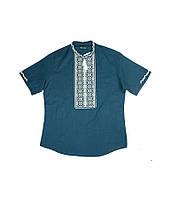 Вышитая рубашка мужская. Мужская рубашка в темно-синем цвете. Вышитая рубашка. Вышиванка мужская.