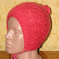 Мохеровая зимняя двойная шапка на 1-2 года для девочки