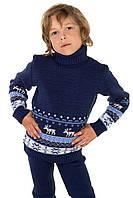 Свитер для девочки и мальчика Рейндер синий