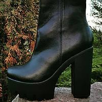 Ботильоны кожаные, женские полусапоги, сапоги деми каблук, ботинки на каблуке