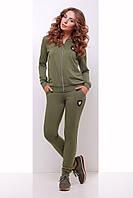 Оливковый женский спортивный костюм с двунитки