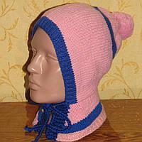 Розовая шапка с воротником демисезон на 4-6 лет для девочки