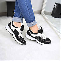 Кроссовки женские Chanel черные 3608 , спортивная обувь