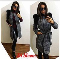Женское стильное пальто- траснформер с натуральным мехом