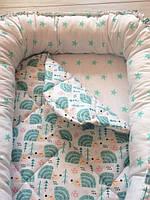 """Кокон для новорожденных """"Мятные ежики"""" со съемным матрасиком"""