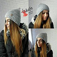 Серая зимняя шапочка Снежинка