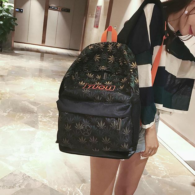 Крутой школьный рюкзак с коноплёй
