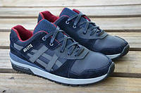 Мужские кожаные кроссовки Asics 12182 темно-синие