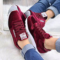 Кроссовки женские Reebok бордо велюр 3613, спортивная обувь
