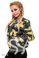 """Курточка-бомбер джинс в крупный камуфляжный рисунок  """"Diva"""" 2P/NR-4042"""