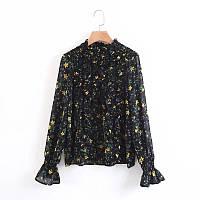 Черная блузка в мелкий цветочек, фото 1