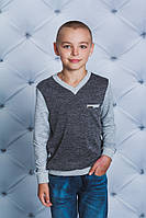 Пуловер для мальчика т-серый