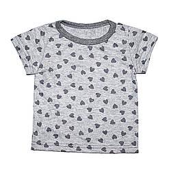 Дизайнерская футболка 6/12 мес. Andriana Kids серая с сердечками