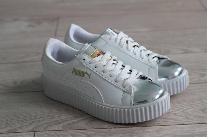 Кроссовки женские Puma Rihanna Fenti цвет белый кожа (реплика)